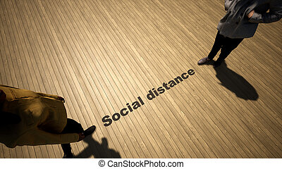 3d illustration of a man to man meeting following social distance guidelines