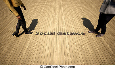 3d illustration of a man to woman meeting following social distance guidelines