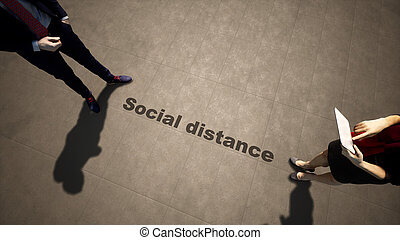 3d illustration of a man woman meeting following social distance guidelines