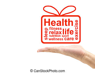 Concept or conceptual abstract word gift box with man hand, metaphor to health, nutrition, wellness, fitness, sport, heart, relax, exercise, life, care