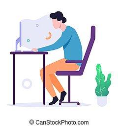 concept., ordinateur homme, personne, gamer, jeu