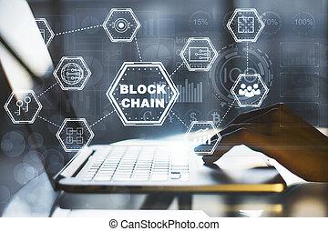 concept, ordinateur portable, blockchain