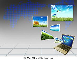 concept, ordinateur portable, moderne, vert, multimédia, field.