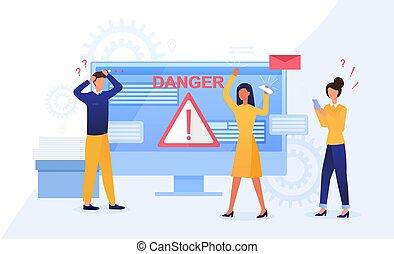 concept, ou, hacher, attaque, alerte, cyber