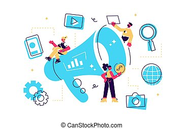 Concept Outbound marketing for web page, banner, ...