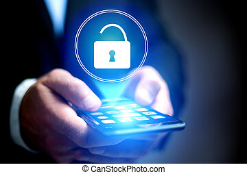 concept, ouvert, -, application, casier, sécurité internet, ...