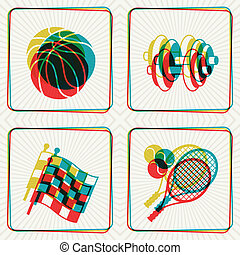 concept, overlay., icônes, effet, illustration, sport