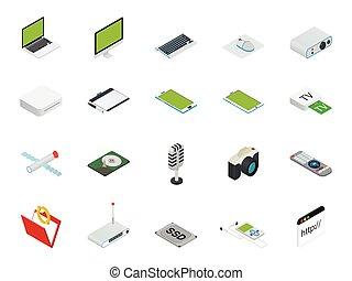 concept, périphérique, ordinateur portable, infographic, technologie, isométrique, set., joueur, ordinateur bureau, vector., intelligent, 3d, plat, concepteur, tablette, informatisé, téléphone, icône, appareils, appareil photo, espace de travail