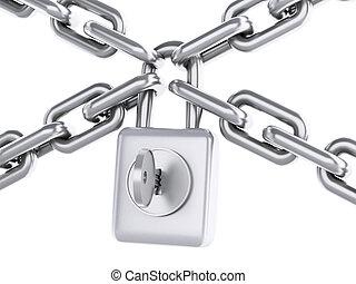 concept., padlock., seguridad, cadena, 3d