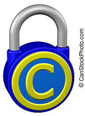 Concept: padlock with sign copyright. 3D rendering. -...
