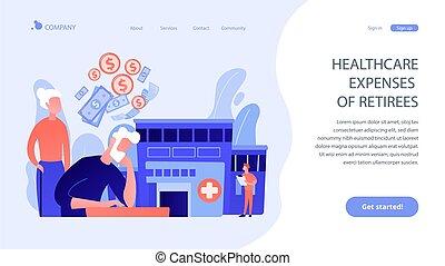 concept, page., pensioentrekkeren, tussenverdieping, kosten, gezondheidszorg