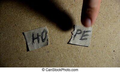 concept., palavra, esperança, pedaços