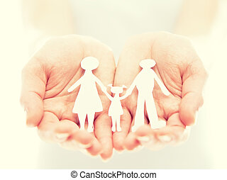 concept. paper figures of family in hands