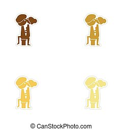 Concept paper stickers on white background Kamasutra...