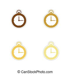 Concept paper stickers on white background stopwatch Clock