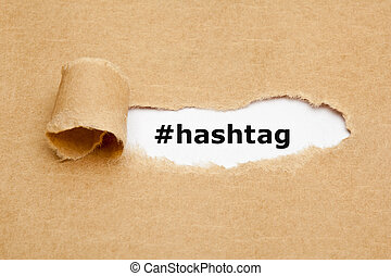 concept, papier déchiré, hashtag