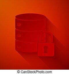 concept., papier, illustration, serveur, rouges, arrière-plan., protection, vecteur, cadenas, icône, sécurité, style., art, fermé, isolé, coupure, sécurité, sécurité