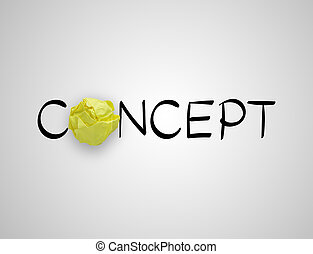 concept, papier, jaune, rédaction