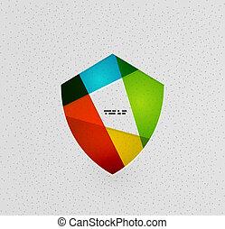 concept, papier, kleurrijke, schild, bescherming