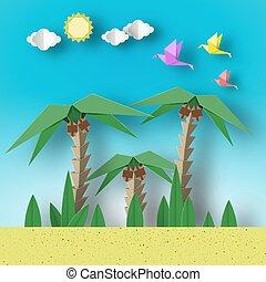 concept, papier, origami, paysage.
