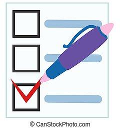 concept., papier, temps, liste contrôle, gestion, presse-papiers, plat, pen.
