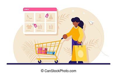 concept., paquete, catálogo, goods., plano, ventana, mujer, illustration., plano de fondo, moderno, en línea, carrito del supermercado, examinador, compras