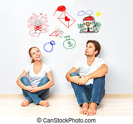 concept., par jovem, sonhar, de, casa nova, criança,...