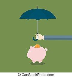 concept, parapluie, gens, sien, porcin, protéger, banque
