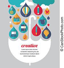 concept, parapluie, -, idée, créatif, conception