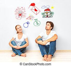 concept., pareja joven, soñar, de, casa nueva, niño,...