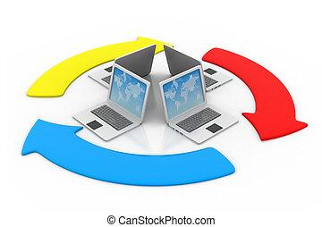 concept, partage, transférer, données, fichier