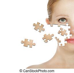concept, particule, puzzle, jeune, figure, effets, femme, traitement cosmétique, peau, care.