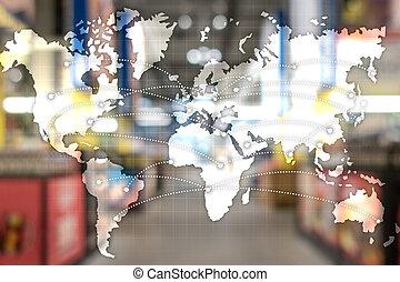concept., partnership., エクスポート, 輸入, 世界的である, 地図, ロジスティクス