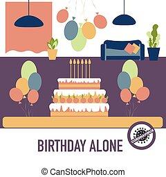 concept., party, room., kerzen, kuchen, luftballone, quarantining, leerer , coronavirus, geburstag, absagen, schutz