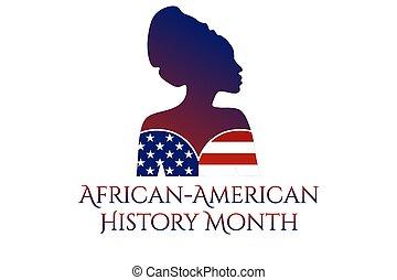 concept, patriotique, inscription., mois, vecteur, ou, woman., bannière, affiche, african-american, gabarit, eps10, noir, carte, texte, silhouette, fond, illustration., histoire