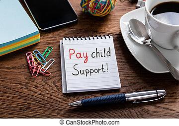 concept, payer, soutien, bloc-notes, écrit, enfant