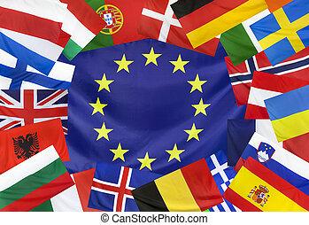 concept, pays, drapeau, europeen