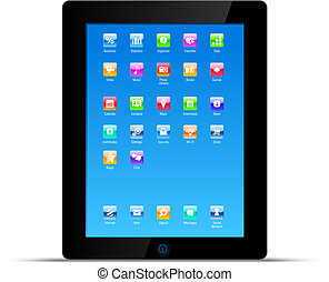 concept, pc tablette, vecteur, tampon, toucher