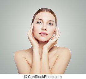 concept., pele, anti, cuidado, facial, bonito, levantamento, rosto, mulher, envelhecimento, saudável, skin., jovem, tratamento