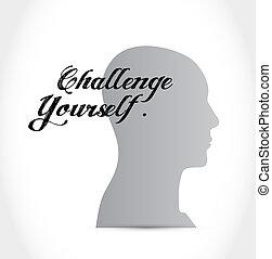 Cerveau, courage. Tête, sien, mot, gens, série, -, courage ...