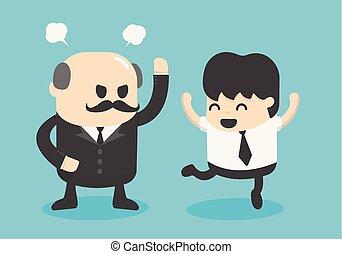 concept, pensée, positif, homme affaires, dessin animé, heureux