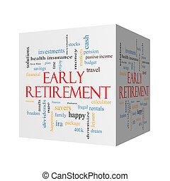 concept, pensioen, woord, vroeg, kubus, wolk, 3d