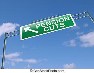 concept., pension, coupures