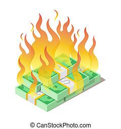 concept, perdu, brûlé, argent, billets banque, dollars américains, tas