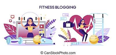 concept., personagem, blog, femininas, condicão física, malhação