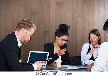 concept, personne affaires, collaboration, ensemble., équipe, travaux