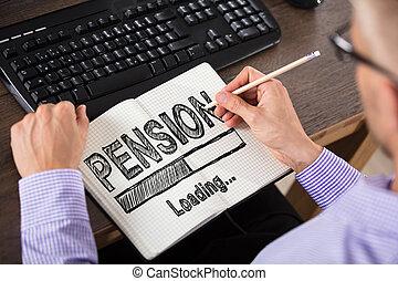concept, personne affaires, pension, cahier, dessin