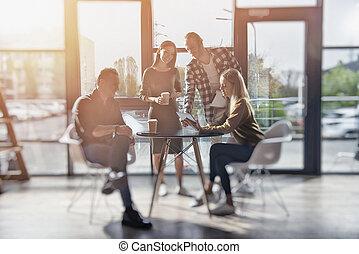 concept, personne affaires, teamwork., ensemble., équipe, travaux