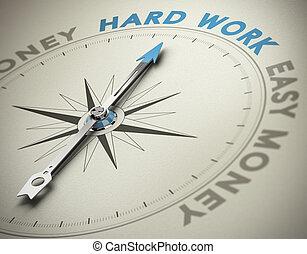 concept, personnel, dur, -, valeurs, travail