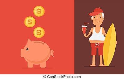 concept, personnes agées, pension, homme, banque, porcin